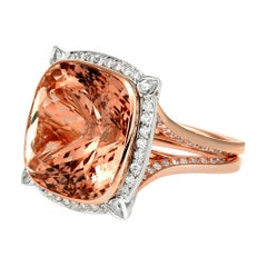 Certified 26 Carat Cushion Cut Morganite and Diamond Cocktail Ring
