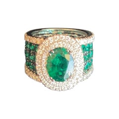 Certified 2.61 Carat Emerald and Diamond Wedding Ring