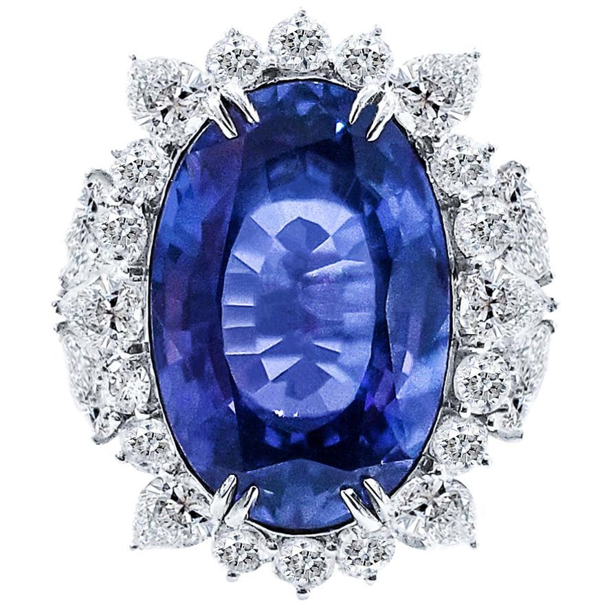 Certified 26.19 Carat Ceylon Sapphire Diamond Cocktail Ring