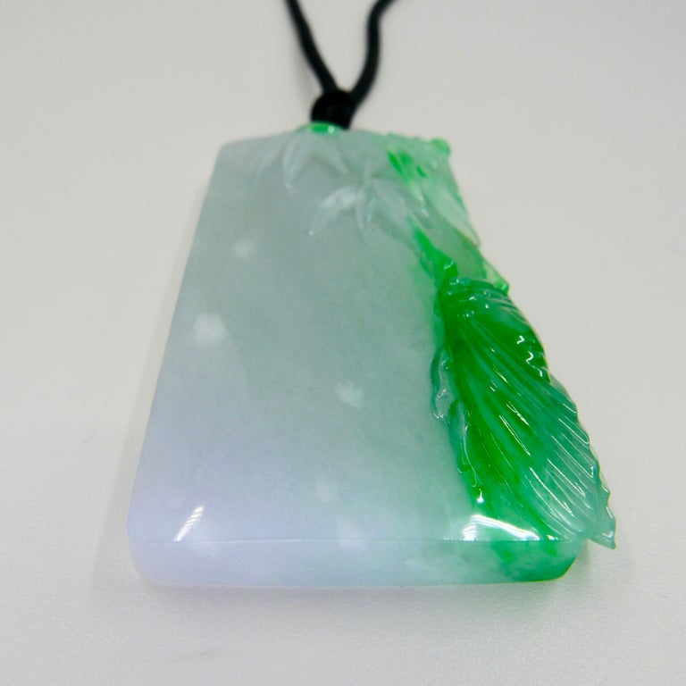 Certified 266cts Jadeite Cicada Pendant, Long Life & Immortality, Imperial Green For Sale 7