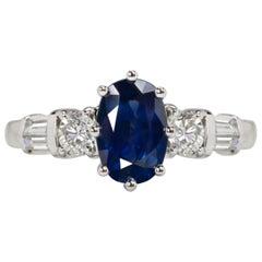Certified 2.70 Blue Sapphire Diamond Oval White Diamond Solitaire Ring