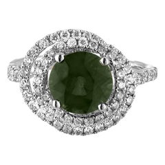 Certified 2.80 Carat No Heat Round Bluish Green Sapphire Diamond Gold Ring