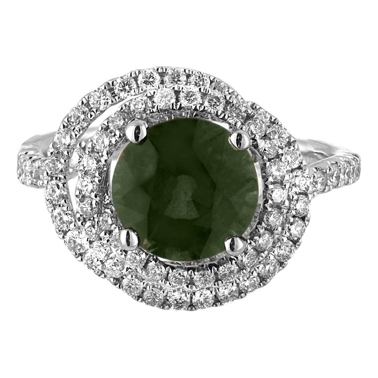 Certified 2.80 Carat No Heat Round Bluish Green Sapphire Diamond Gold Ring For Sale