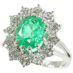 Certified 2.95 Carat Emerald and 2.04 Carat Diamond Platinum Engagement Ring
