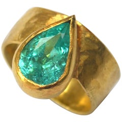 Certified 3 Carat Paraiba Pear Tourmaline 18 Karat Gold Textured Cocktail Ring