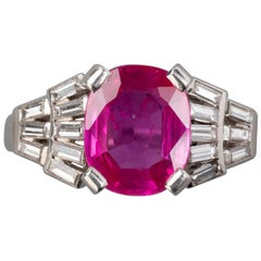 Certified 3 Carat Pink Burmese Ruby French Art Deco Ring