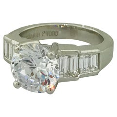 Certified 3.00 Carat Round Diamond Custom Baguette Engagement Platinum Ring
