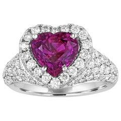 Certified 3.05 Carat No Heat Purple Sapphire Diamond Gold Heart Ring