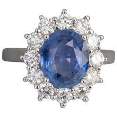 Certified 3.08 Carat Ceylan Sapphire and 1.19 Carat Diamonds Ring