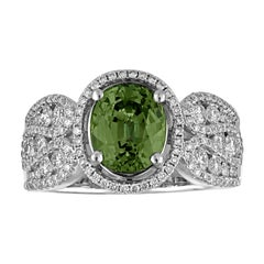 Certified 3.08 Carat Oval Green Sapphire Diamond Gold Ring