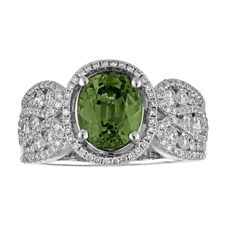 Certified 3.08 Carat Oval Green Sapphire Diamond Gold Ring For Sale