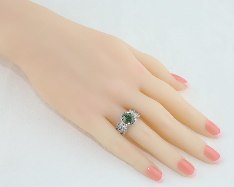Contemporary Certified 3.08 Carat Oval Green Sapphire Diamond Gold Ring For Sale