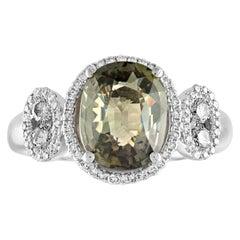 Certified 3.12 Carat No Heat Oval Greenish Yellow Sapphire Diamond Gold Ring