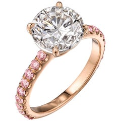 Certified 3.14 Carat Brilliant Round Engagement Ring with Pink Diamonds