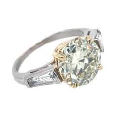 Certified 3.16 Carat Transitional Cut Diamond in Platinum & Gold 3-Stone Ring