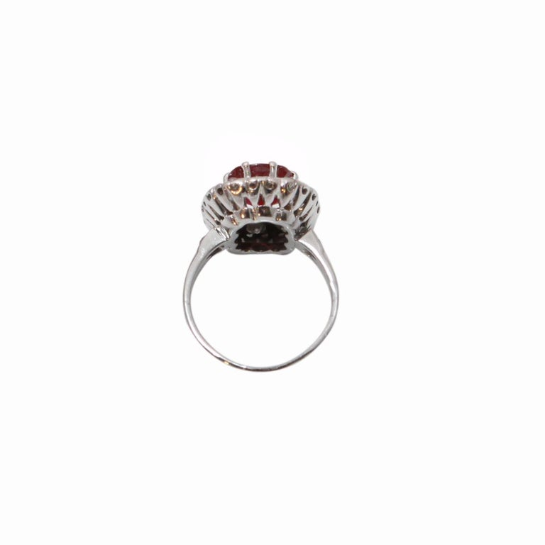 Contemporary Certified 3.20 Carat Siam Ruby 2 Carat Diamonds 18 Karat White Gold Ring For Sale
