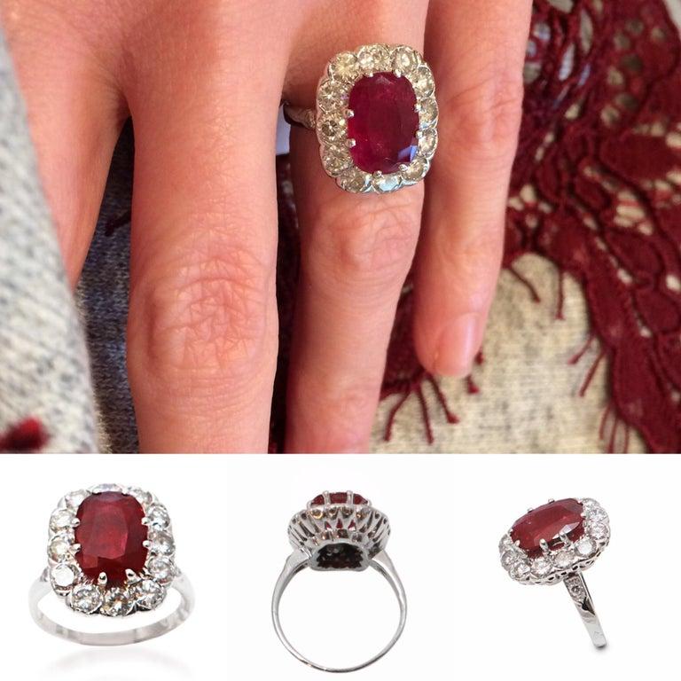 Women's Certified 3.20 Carat Siam Ruby 2 Carat Diamonds 18 Karat White Gold Ring For Sale