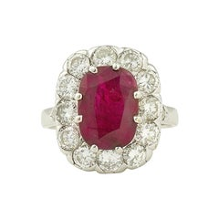 Certified 3.20 Carat Siam Ruby 2 Carat Diamonds 18 Karat White Gold Ring