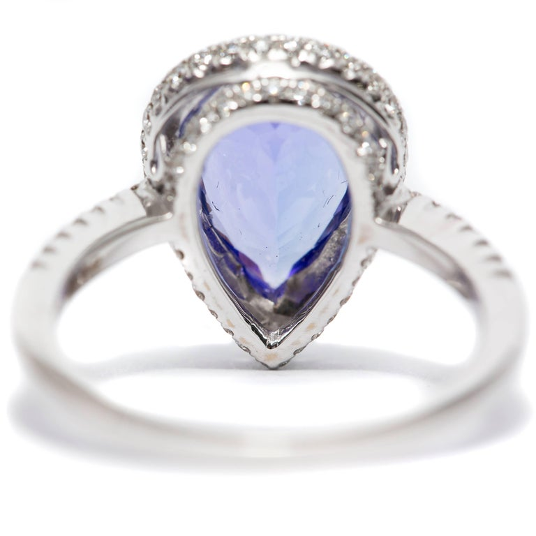 3.26 CT Pear Tanzanite Certified 0.75 Carat Diamond 18 KT Gold Engagement Ring For Sale 1