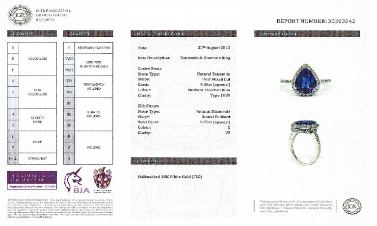 3.26 CT Pear Tanzanite Certified 0.75 Carat Diamond 18 KT Gold Engagement Ring For Sale 2