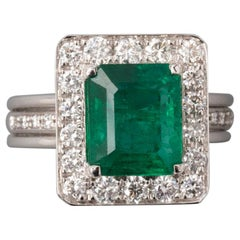 Certified 3.35 Carat Emerald French Ring
