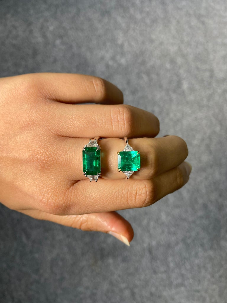Modern Certified 3.42 Carat Emerald and Diamond Three-Stone Engagement Ring For Sale