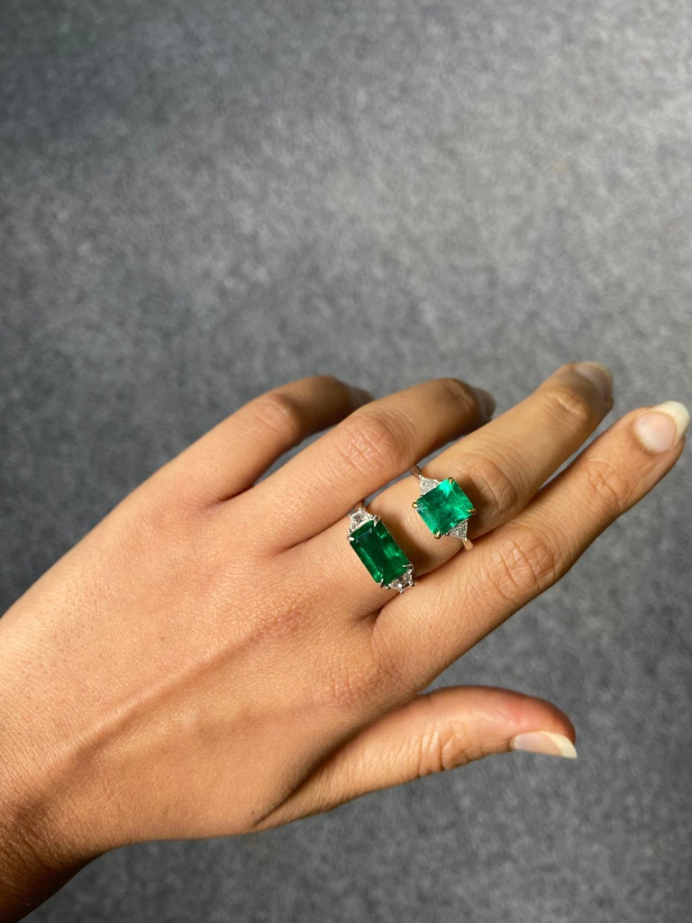 Emerald Cut Certified 3.42 Carat Emerald and Diamond Three-Stone Engagement Ring For Sale