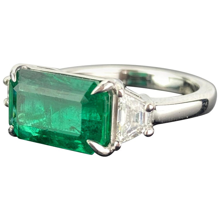 Certified 3.42 Carat Emerald and Diamond Three-Stone Engagement Ring For Sale