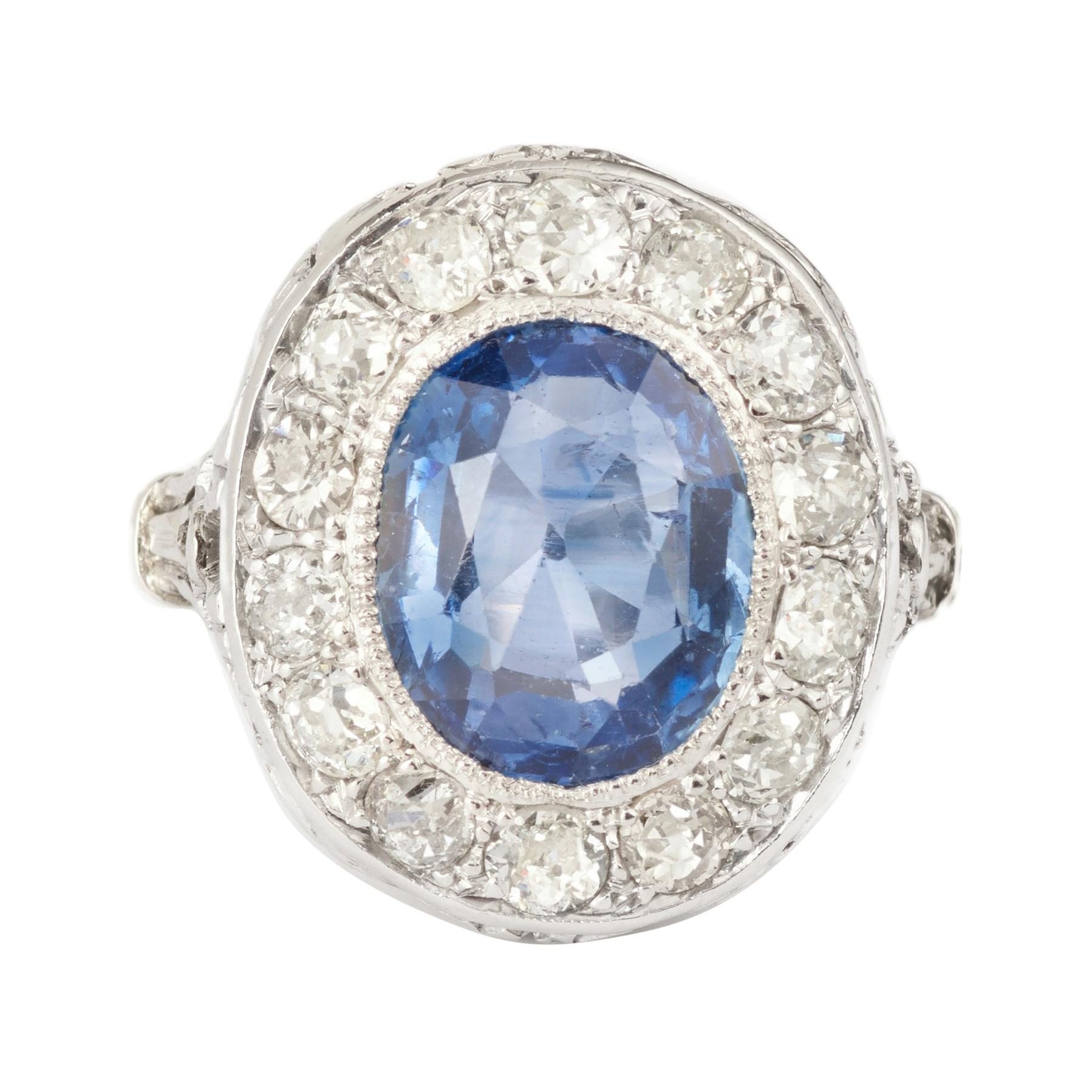 Certified 3,50 Carats Unheated Ceylon Sapphire Diamonds Platinum Cluster Ring