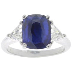 Certified 3.57 Three-Stone Ceylon Sapphire Rings Triangle Diamond