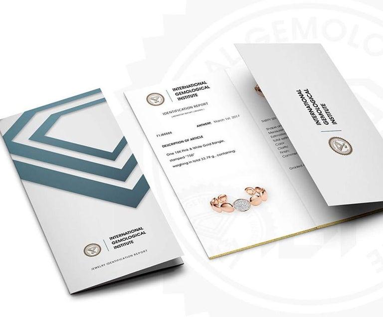 Modern Certified 3.30 Carat Round Diamond Paper Clip Design Link Bracelet in 14K Gold For Sale