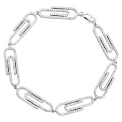 Certified 3.30 Carat Round Diamond Paper Clip Design Link Bracelet in 14K Gold