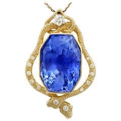 Certified 36.50 Carat Ceylon Sapphire and Diamond Yellow Gold Snake Pendant