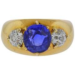 Certified 3.67 Carat Ceylon No Heat Sapphire Diamond Gold Ring