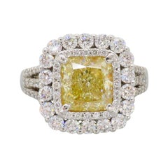 Certified 3.70ctw Yellow Diamond Double Halo Engagement Ring