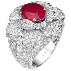 Certified 3.71 Carat Oval Ruby Diamond 18 Karat White Gold Cocktail Ring