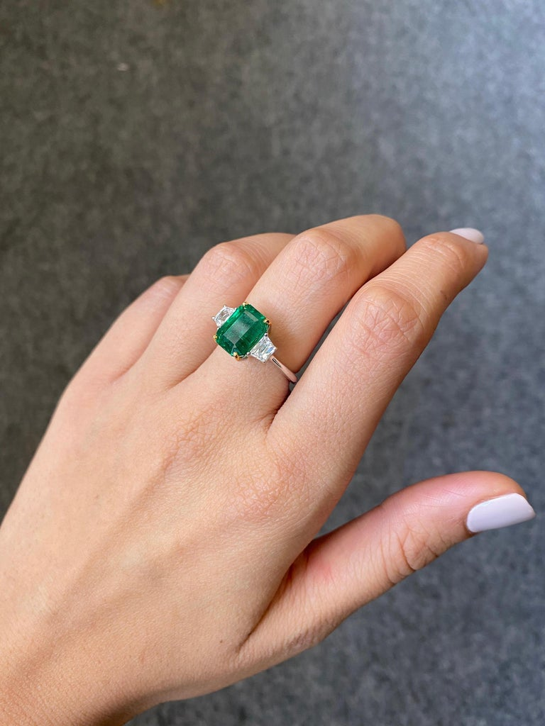 Emerald Cut Certified 3.82 Carat Emerald and Diamond Three-Stone Engagement Ring For Sale