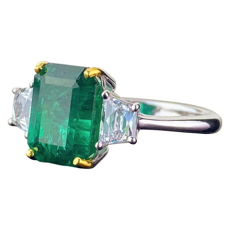 Certified 3.82 Carat Emerald and Diamond Three-Stone Engagement Ring For Sale