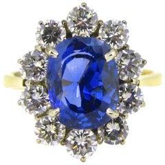 Certified 3.84 Carat Burmese Sapphire Diamonds Cluster Wedding Ring