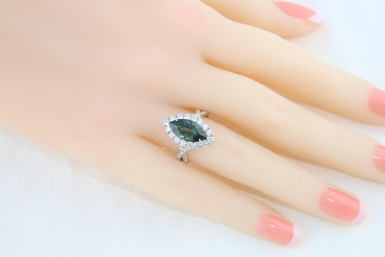 Certified 3.87 Carat No Heat Marquise Blue Green Sapphire Diamond Gold Ring For Sale 2