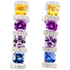 Certified 3.92 Carat Asscher Cut Multi Vivid Color Sapphire & Diamond Earrings