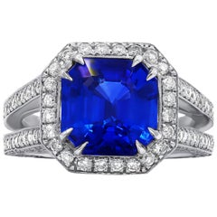 Certified 3.98 Carat Ceylon Sapphire and Diamond Ring