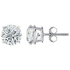 Certified 4.01 Carat Total Weight Diamond Stud Earrings