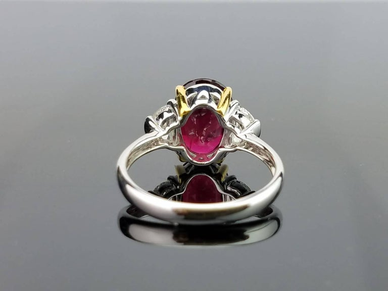 Art Deco Certified 4.02 Carat No Heat Mozambique Ruby and Diamond Three-Stone Ring For Sale