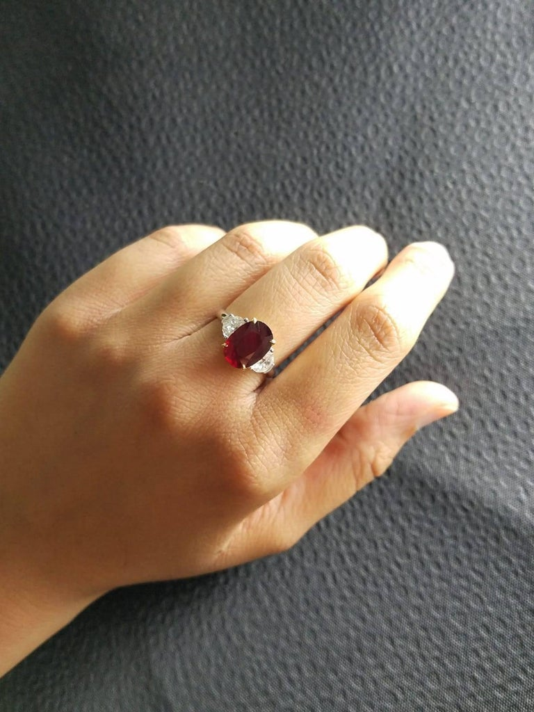 Women's Certified 4.02 Carat No Heat Mozambique Ruby and Diamond Three-Stone Ring For Sale
