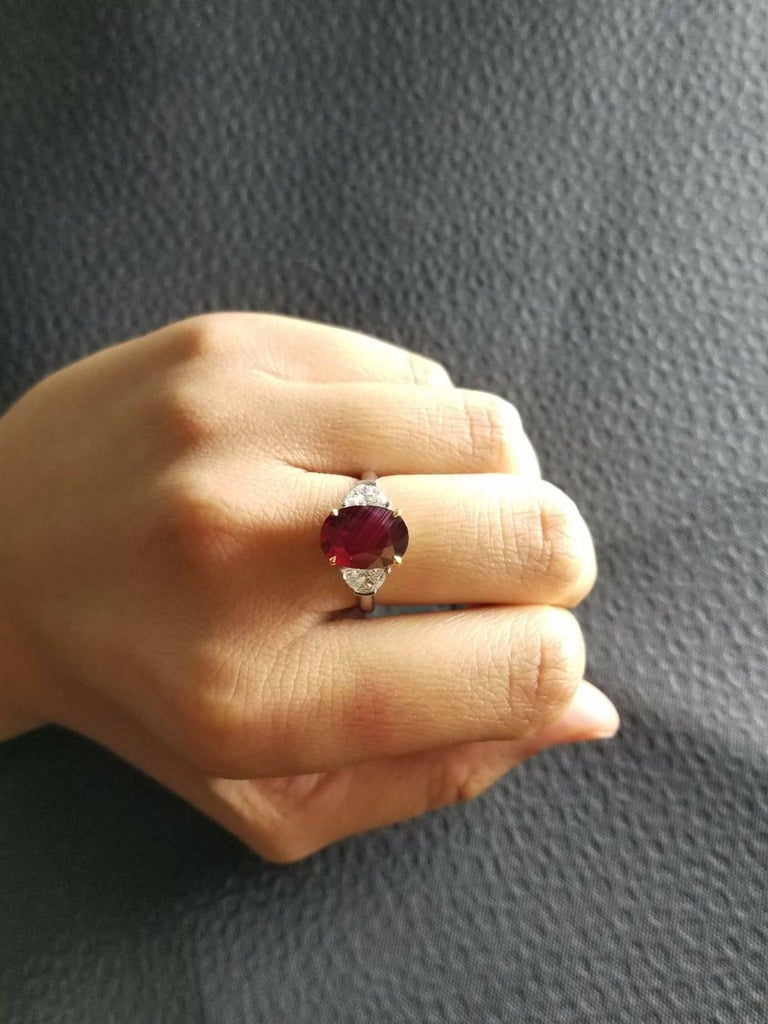 Certified 4.02 Carat No Heat Mozambique Ruby and Diamond Three-Stone Ring For Sale 1