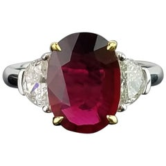 Certified 4.02 Carat No Heat Mozambique Ruby and Diamond Three-Stone Ring