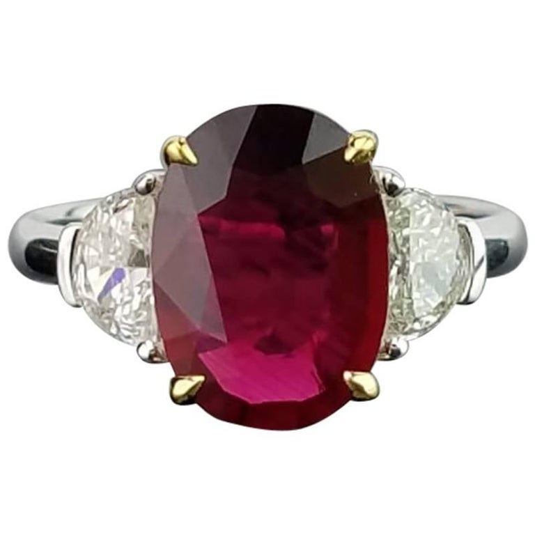 Certified 4.02 Carat No Heat Mozambique Ruby and Diamond Three-Stone Ring For Sale