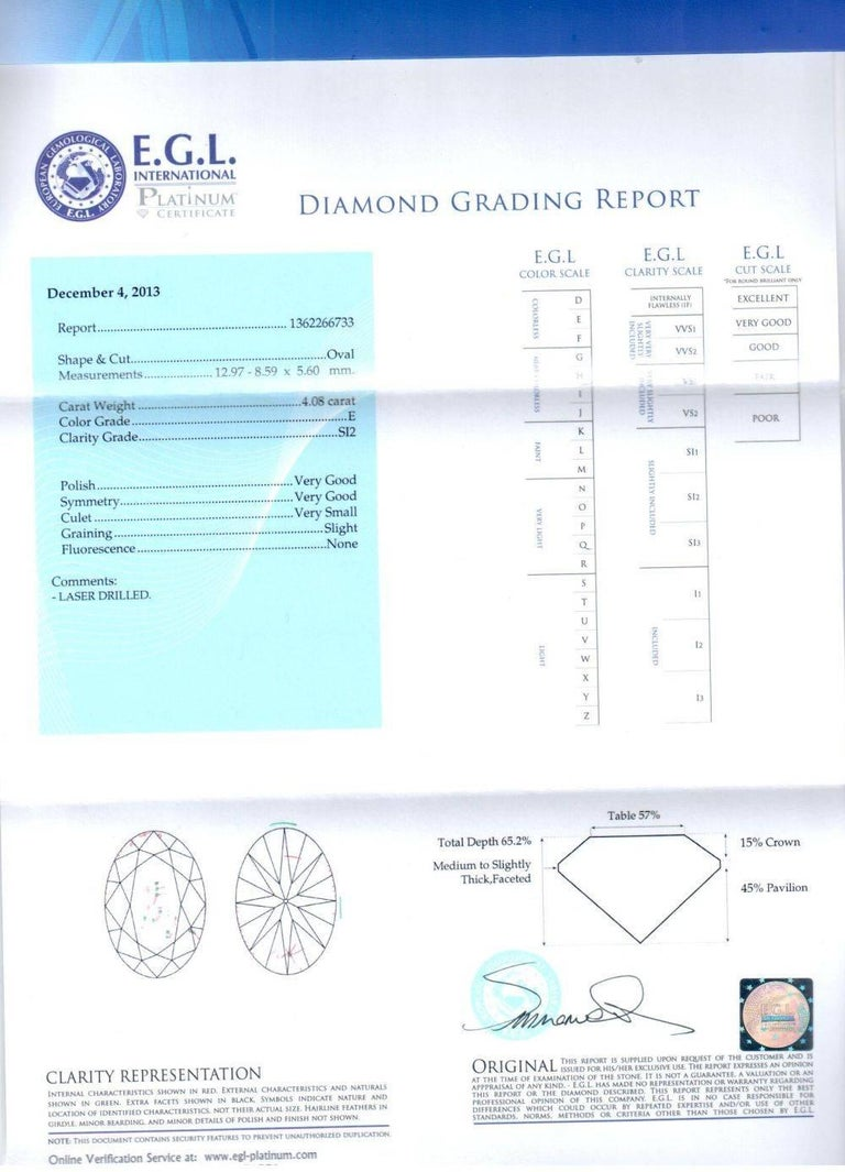 EGL certified diamond engagement ring consisting of 4.08 carat oval brilliant cut diamond E color and SI2 clarity in the center and accented by 1.50 carat micro pave round cut diamonds, set in 18 karat white gold mounting.  • Style- Classic Ring