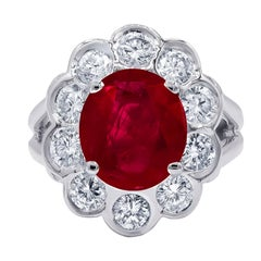 Certified 4.20 Carat Ruby and Diamond Ring